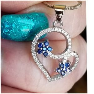Jewelry - Genuine Blue & White Sapphires Sapphires Pendant